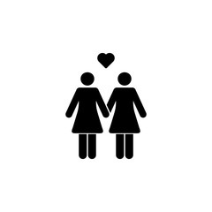 loving lesbian couple icon. Element of couples in love illustration. Premium quality graphic design icon. Signs and symbols collection icon for websites, web design, mobile app