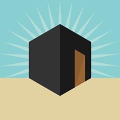 kaaba logo. mecca icon. islam symbol. vector eps 08.