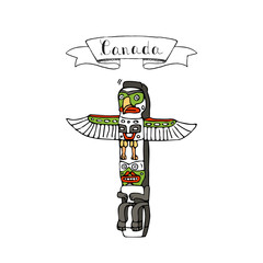Hand drawn doodle Canada culture indigenous people landmark - totem pole icon Vector illustration canadian isolated symbol on white background Cartoon element wooden relegion sign Aboroginal element