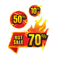 The set of hot sale burning labels discount 10%. 50%. 70% and tags for hot sale. banner. marketing. Business. percent. on white background. vector