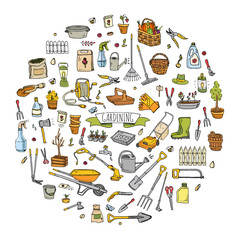 ПечатьHand drawn doodle set of Gardening icons. Vector illustration set. Cartoon Garden symbols. Sketchy elements collection: lawnmower, trimmer, spade, fork, rake, hoe, trug, wheelbarrow, hose reel.