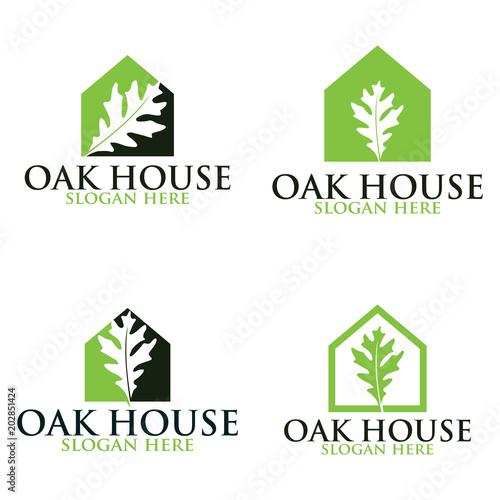 Oak home vector logo set. Logo templates.\