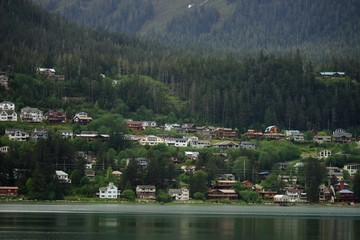 Juneau residential district and harbor with mountain slope on the background