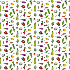 Seamless pattern hand drawn doodle vegetables icons set Vector illustration seasonal vegetable symbols collection Cartoon different kinds of vegetables Various types of vegetables Sketchy style