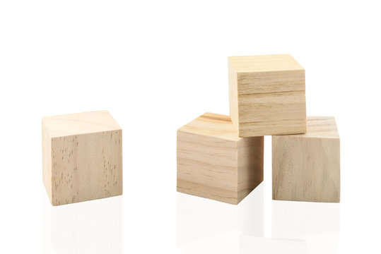 Wooden Building Blocks isolated against white background