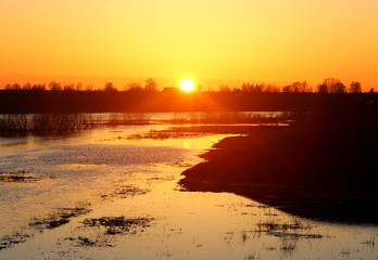 Stock Foto Beautiful sunset on the river