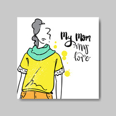 Love Mom Card Mothers Day Poster Design With Hand Drawn Woman Silhouette Vector Illustration