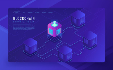 Isometric blockchain technology landing page. Network, e-commerce, bitcoin trading, global cryptocurrency blockchain data transfer concept on ultraviolet background. Vector 3d isometric illustration.