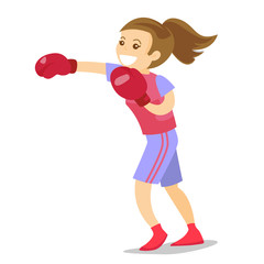 Smiling caucasian white boxer in red boxing gloves training during fitness workout. Female boxer exercising in boxing gloves. Vector cartoon illustration isolated on white background. Square layout.