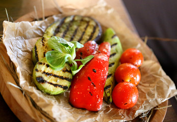 Photo of delicious grilled vegetables