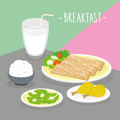 Food Meal Breakfast Dairy Eat Drink Menu Restaurant Vector