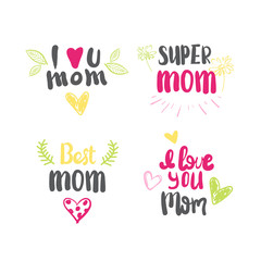 Love Mother Logos Set Isolated Creative Hand Drawn Lettering Calligraphy Vector Illustration