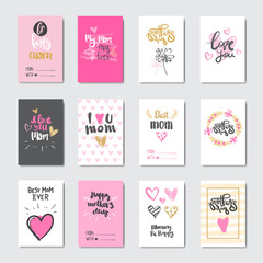 Cute Cards For Happy Mother Day Holiday Decorated With Beautiful Hand Drawn Lettering Vector Illustration