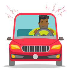 Angry black man in a car stuck in traffic jam. Irritated young hipster man with beard driving a car in a traffic jam. Vector cartoon illustration isolated on white background. Square layout.