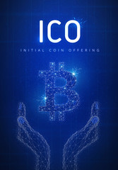 ICO initial coin offering futuristic hud background with glowing polygon bitcoin symbol in hands, blockchain peer to peer network and title ICO. Global cryptocurrency business finance banner concept.