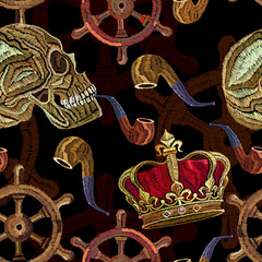 Embroidery skull pirate, golden crown and steering wheel seamless pattern. Template for clothes, textiles, t-shirt design