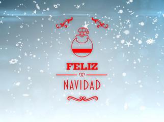 Feliz navidad banner against blue design with snowflakes