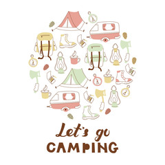 Hand Drawn Doodle Camping Objects. Set with Tourist Tent, Compas, Backpack and etc.
