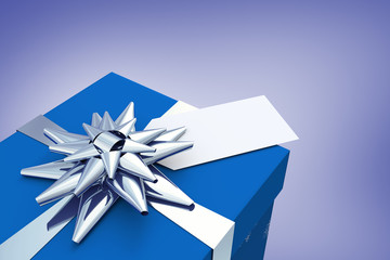 Blue and silver christmas gift against purple vignette