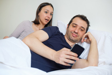 Boyfriend surprised chatting with another woman