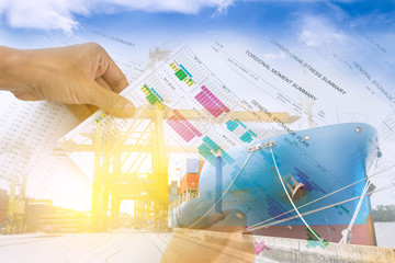 Multiple exposure of ship stowage plan as in logistcs, shipping, import & exposrt concept.
