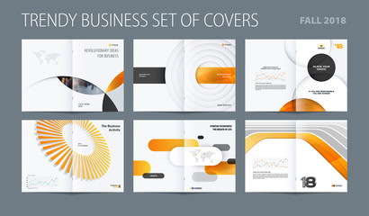 Design set of abstract double-page brochure with yellow colourful circles, quares, triangles for branding. Business vector broadside.