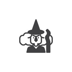 Witch with broomstick vector icon. filled flat sign for mobile concept and web design. Halloween simple solid icon. Symbol, logo illustration. Pixel perfect vector graphics