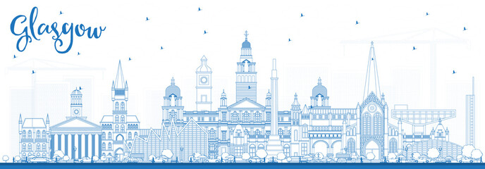 Wall Mural - Outline Glasgow Scotland City Skyline with Blue Buildings.