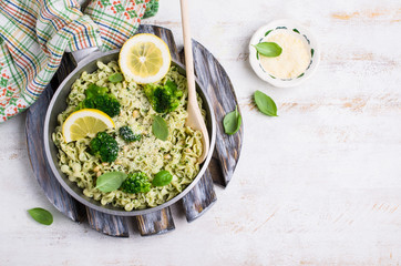 Traditional pasta tripoline with pesto