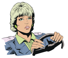 Woman driving her car. Stock illustration.