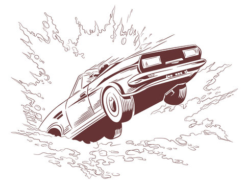 Car falls into water. Stock illustration.