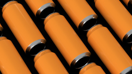 Raws of orange soda cans
