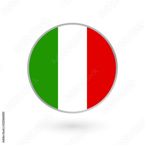 Italy flag icon isolated on white background  Italian round badge