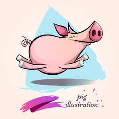 Funny, cute, crazy cartoon characters pig. Symbol of the year 2019. Vector eps 10