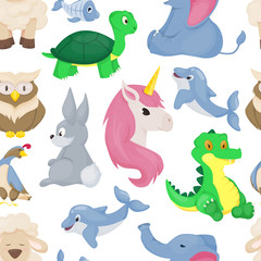 Zoo animals seamless pattern vector background cute cartoon wild characters illustration