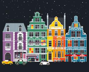 Facades of houses, street, vintage. Cartoon-style. Vector