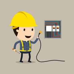 Safety and accident, Electric shock, Vector illustration, Industrial safety cartoon