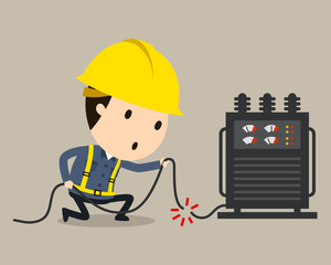 Electric shock, Vector illustration, Safety and accident, Industrial safety cartoon