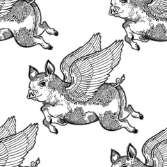 Flying inked ornate winged pig seamless pattern.