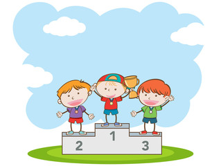 Doodle Kids Winning Sport Competition
