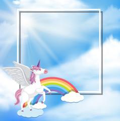 A Unicorn and Rainbow on Blue Sky Template