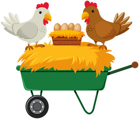 Chicken and Eggs on Farming Cart
