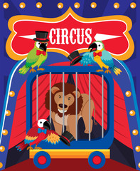 Circus Image with Lion in Cage
