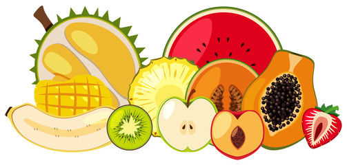 Tropical Fruit on White Background