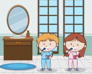 Kids Brushing Teeth in The Morning