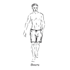 Portrait of sexy guy in boxers type of swimsuit with inscription, hand drawn outline doodle, sketch in pop art style, black and white vector illustration