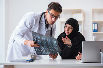 Muslim woman visiting doctor for regular check-up