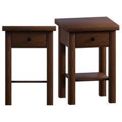 Pair of bedside tables isolated on white, 3d render.