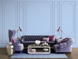 Classic interior room with copy space.3d rendering