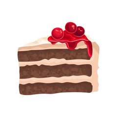 Piece of chocolate cake with cream. Delicious dessert decorated with cowberry. Sweet food. Flat vector icon